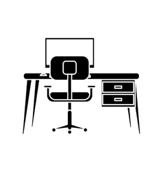 Silhouette workplace modern pc armchair desk vector