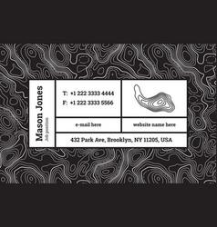 Super trendy business card template contour map vector