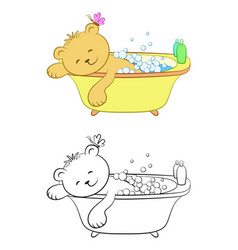 Teddy bear washes in the bath vector