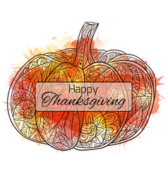 Thanksgiving day postcard with a pumpkin with a vector