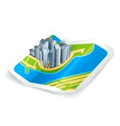 Town on the map icon vector