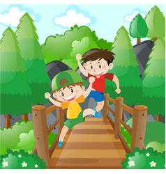 Two boys crossing the wooden bridge vector