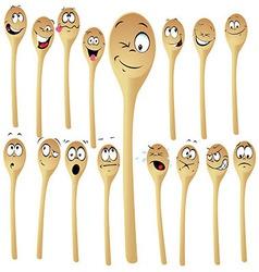 Wooden spoon cartoon vector