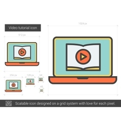 Video tutorial line icon vector