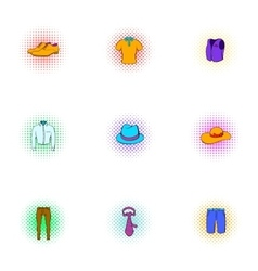 Outfits icons set pop-art style vector