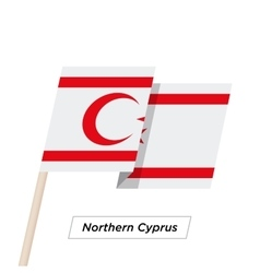Northern cyprus ribbon waving flag isolated on vector