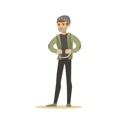 Robber in handcuffs colorful cartoon character vector
