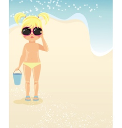 Girl in glasses on the beach vector