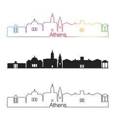 Athens ga skyline linear style with rainbow vector