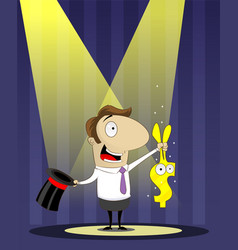 banker as magician pulls a rabbit out of hat vector image