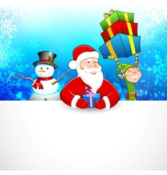 Santa claus and snowman wishing merry christmas vector