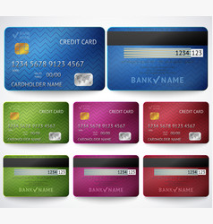 Set of realistic credit card two sides isolated vector