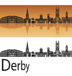 Derby skyline in orange background vector image
