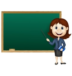 Cartoon female teacher standing next to a blackboa vector