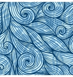 Blue hair curls waves seamless pattern vector