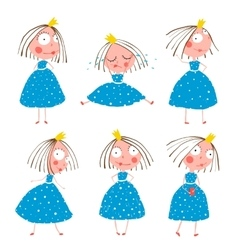 Cute little princess girls in poses collection for vector
