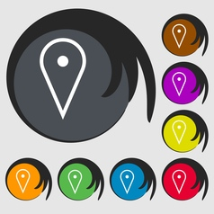 Map poiner icon sign symbol on eight colored vector