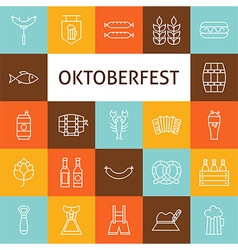 Line art modern oktoberfest beer holiday icons set vector