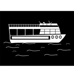 Silhouette walking tour boats vector