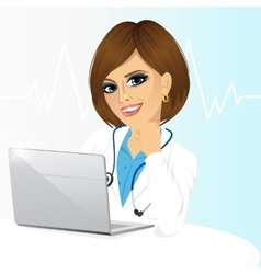 Young female doctor using his laptop computer vector