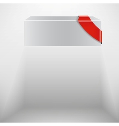 abstract white box with red ribbon vector image
