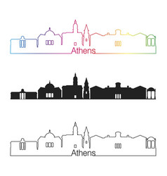 Athens ga skyline linear style with rainbow vector