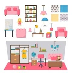 Baby kids room interior set vector