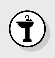 Bathroom sink sign flat black icon in vector