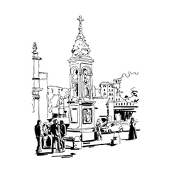 Black and white drawing travel card from rome vector