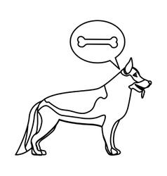 black contour with german shepherd dog thinkin vector image