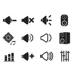 black speaker icons set vector image vector image