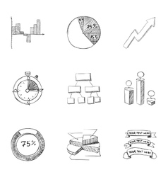 Business icons set hand drawn style vector