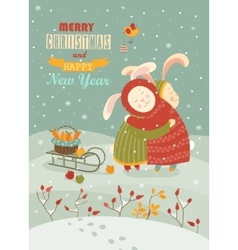 Cute rabbits celebrating Christmas vector image