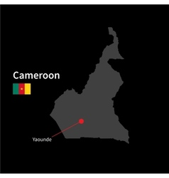 Detailed map of Cameroon and capital city Yaounde vector image vector image
