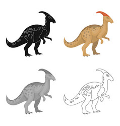 dinosaur parasaurolophus icon in cartoon style vector image vector image