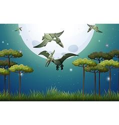 Dinosaurs flying on fullmoon night vector