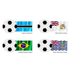 Football with botswana antarctica brazil flag vector