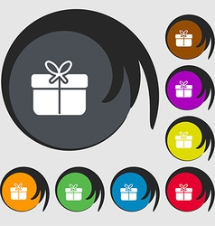 Gift box icon sign symbols on eight colored vector