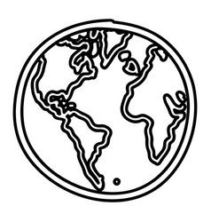 Hand drawn monochrome contour of world map vector