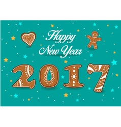 Happy New Year 2017 Gingerbread cookies font vector image vector image