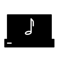 laptop with music note silhouette icon pictogram vector image