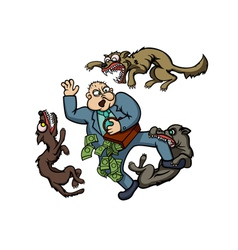 Man and dogs vector image