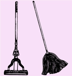 Mop cleaning vector