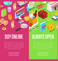 online shopping isometric 3d posters vector image