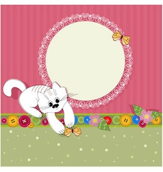ornament retro kitten vector image vector image