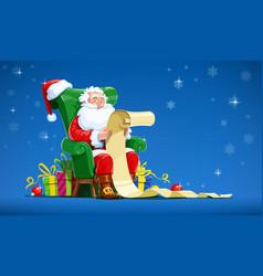 Santa claus sit in armchair vector