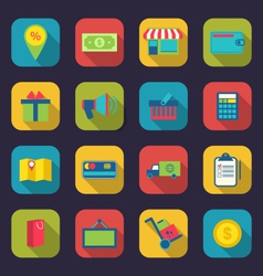 Set flat colorful icons of e-commerce shopping vector image vector image