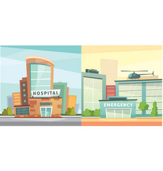 Set hospital building cartoon modern vector