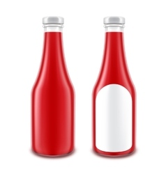 Set of Ketchup Bottle without with Round Label vector image vector image