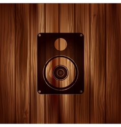 Subwoofer web icon wooden background vector